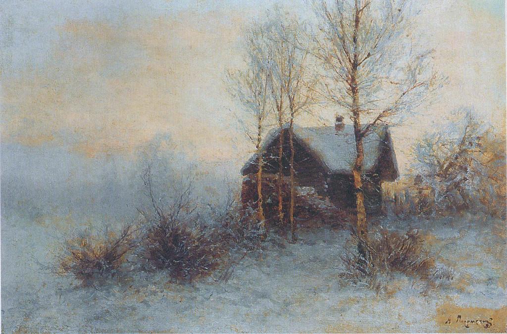 Pisemskij, paesaggio nevoso con isba